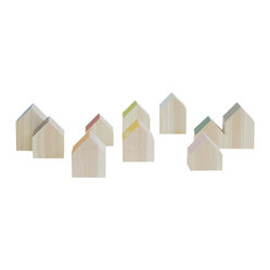 Landscape Products - Wooden House Block Set - Inspire creative play! Your children can build and create to their heart's desire with these miniature houses, crafted of smooth, clear-grained wood. Easy-to-grip, they fit neatly in your children's hands. One side of each roof is a different color for a rainbow effect. A great gift idea.