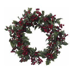 Nearly Natural - Holly Berry Wreath - The classically traditional holly berry wreath. Spiny greens and shiny deep-red berries. Will look great for years to come. Construction Material: Polyester material, Iron wire, Plastic, Poly Foam. 24 in. W x NA in. D x 24 in. H ( 3 lbs. )What would the holiday season be without Holly? We asked ourselves that very question and our answer was this stunningly beautiful Holly Berry Wreath. With the twig wreath and dark, spiny greens providing the backdrop, the shiny, deep-red berries perfectly embody the holiday spirit, and welcome winter's cold embrace. A timeless classic, recreated just for you.