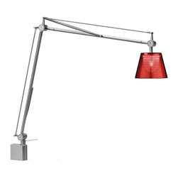 Flos - Archimoon K wall light - This task lamp provides direct and diffused light. Acid-etched pressed borosilicate glass internal diffuser. Injection-molded polycarbonate diffuser, vacuum-aluminized inside. Gray painted die-cast aluminum diffuser support. This is the Wall Version.