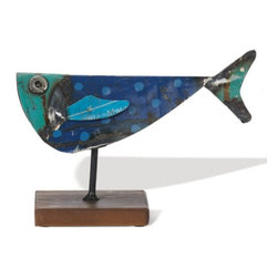 Recycled Metal Fish - Home Decor - How cool is this? A fish made from recycled metal! I think it's a trout, maybe a small mouth bass, possibly a bluegill - not sure. Certainly not a northern pike.. Whatever kind of fish it is, it's really neat… Wouldn't this look great on your bookshelf? Made from recycled metal, welded and shaped into a fish. Attached to metal pin/wood base display.