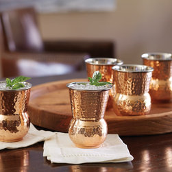 Tuscan Copper Tumblers Hammered Set - Made from stainless steel on the inside, and copper on the outside, these tumblers will fit perfectly in your hand.