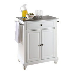 Crosley Furniture - Crosley Furniture Cambridge Stainless Steel Top White Kitchen Island - Crosley Furniture - Kitchen Carts - KF30022DWH - Constructed of solid hardwood and wood veneers this kitchen island is designed for longevity. The beautiful raised panel doors and drawer front provide the ultimate in style to dress up your kitchen. The deep drawer are great for anything from utensils to storage containers. Behind the two doors you will find an adjustable shelf and an abundance of storage space for things that you prefer to be out of sight. Style function and quality make this kitchen island a wise addition to your home.