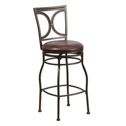 Flash Furniture - Flash Furniture 29 Inch Brown Metal Bar Stool with Brown Leather Swivel Seat - This gracefully styled stool will add an elegant finish to your kitchen, dining room or bar area. The curvaceous frame and attractive powder coated finish will complement any decor. The plush padded seat looks and feels great. A full 360 degree swivel and footrest ring provides comfort and ease. [BS-6023-29-BN-GG]