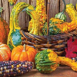 Harvest Colors Puzzle - 1500 Piece Jigsaw PuzzleThe vibrant colors of an autumn harvest come to life in this richly textured puzzle. The detail found in this puzzle image is astounding, as it allows puzzlers to clearly see the grain of the wood, the fiber in the basket and practically feel the smooth Indian corn! This Fall themed puzzle is a challenging 1500 pieces, and would be perfect for a family get together around Thanksgiving.