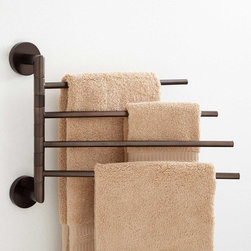 Colvin Quadruple Swing Arm Towel Bar - Add more storage to your bath, while sacrificing minimal space, with the solid brass Colvin Quadruple Swing Arm Towel Bar.