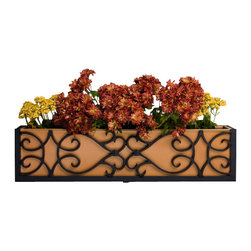 "Hooks & Lattice - Orleans Aluminum Window Box Cage, 30"", 100% Real Copper Liner - The Orleans reflects more than your love of plants. Open, spacious, antique, and artfully refined, this flower box is all about relaxing and stopping along the fast-paced journey of modern life to smell the roses."