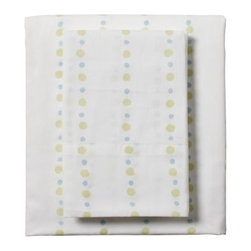 Serena & Lily - Citrus Pebble Sheet Set - Alternating citrine and aqua spots make this design both playful and simple.