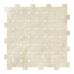 marblesystems - Casablanca & Afyon Sugar Honed Mosaic Basket Weave - Natural mosaic tile that can be used on floors and walls.