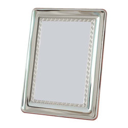 "Silverstar International - 5""x7"" Benoit II Silver Sterling Picture Frame - The Benoit is a personalized 25th wedding anniversary frame that beautifully expresses the joy of everlasting love. Designed with Greek key motif inner border, the Silverstar International bi-laminated 925 Sterling Silver picture frame is meticulously manufactured to an aluminum base for strength & attached to a veneer mahogany wooden back and easel to add an extra bit of elegance. It can hold both vertical and horizontal pictures and has a slide tab closure that grants easy access."
