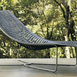 MODLOFT - York Chaise Lounge - York chaise lounge features carbon steel frame with laser cut natural leather seat.