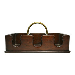 Lavish Shoestring - Consigned Mahogany Wine Bottle Carrier, Antique English, 19th Century - This is a vintage one-of-a-kind item.