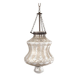 """Imax - iMax Cadel Etched Glass Pendant Light X-32126 - Etched silver mercury glass and iron chain add a strikingly beautiful appearance to the Cadel pendant light. This hard wired pendant light comes complete with a ceiling cap, cord length of 58.5"""" and holds 60 Watt Type B or 13 Watt CFL bulb."""