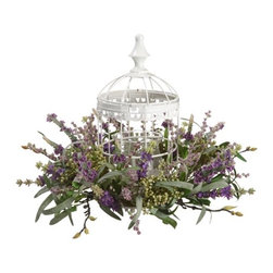 15.5 Inch Lavender Birdcage Centerpiece with 3 Inch Glass Candleholder - Beautiful forever blossoms artfully arranged and ready to brighten up your favorite space. We are the largest silk flower wholesaler / importer in the Southeast for 22 years. We import directly to provide you with the best prices. We carry thousands of items in stock in addition to silk flowers, including artificial trees and greenery.