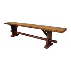 "Rustic Bench Seat - Beautiful solid hardwood bench with Spanish Colonial feel. This thing is very sturdy. This will match any of our Spanish Colonial/Tuscan dining tables or it can stand alone. Also available in a ""CLEAR"" finish. Dimensions: 78'' l x 18'' h x 12'' w"