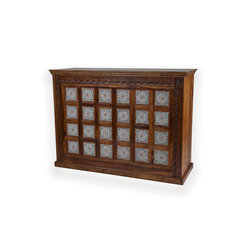 Bar Cabinet with Color Tile - Solid rosewood bar cabinet with beautiful hand-carved detailing and colorful tile. Back of bar includes two storage drawers, enclosed shelves and room for storing glasses and bottles. Imported from India.