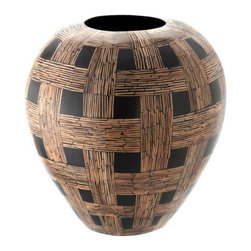 Kouboo - Coconut Chequered Vase - This striking coconut checkered vase is delicately handcrafted from coconut midribs. Designed to hold water for fresh-cut flowers, this vase has a knack for displaying tropical flowers beautifully.