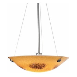 """LBL Lighting - LBL Lighting Veneto pendant light - The Veneto pendant light has been designed and made by LBL lighting. This light features Italian Murano glass in amber, mocha, red or opal color with dainty fused frit patterns and inlaid silver flakes to add just the right touch. This pendant can be adjusted it comes assembled with an overall length of 31"""" which can be extended to a maximum of 67"""" then you will also receive an additional 1 x additional 24"""" and 1 x additional 12"""" stem in your choice of satin nickel or bronze. The fixture Includes Includes c and this fixure is cETL LISTED.         Product Details: The Veneto pendant light has been designed and made by LBL lighting. This light features Italian Murano glass in amber, mocha, red or opal color with dainty fused frit patterns and inlaid silver flakes to add just the right touch. This pendant can be adjusted it comes assembled with an overall length of 31"""" which can be extended to a maximum of 67"""" then you will also receive an additional 1 x additional 24"""" and 1 x additional 12"""" stem in your choice of satin nickel or bronze.  The fixture Includes Includes  c and this fixure is cETL LISTED. Details:                         Manufacturer:            LBL Lighting                            Designer:            LBL Lighting                            Made in:            USA                            Dimensions:            Height: 3.9"""" (9.9 cm) X Diameter: 16.5"""" (41.9 cm)                            Light bulb:            Includes (1) 150 watt E11 mini-candelabra base lamp                            Material:            metal, glass"""