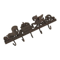 Cast Iron Sea Horse and Gryphon Wall Hooks - This cast iron wall plaque has 5 hooks for hanging dog leashes, reusable grocery bags, light jackets, hats, keys, or anything you may want to keep handy. It measures 21 inches long, 6 1/2 inches tall, 2 inches deep and features a sea horse and gryphon across the top of the hooks. It has 2 pre-drilled holes on either end so you can easily mount it to the wall, and it is sure to be admired by all. NOTE: Hardware included.