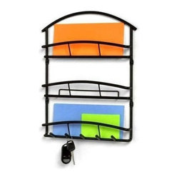 Spectrum Diversified Designs - Euro Wall Mount Letter Holder, Black - Organize your mail, bills, keys and more with the Euro Wall Mount Letter Holder & Key Rack. It provides a central location to keep your life organized, while its clean design will add a contemporary touch to your home. Made of sturdy steel.