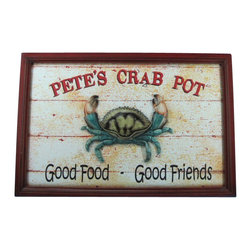 """Handcrafted Nautical Decor - Wooden Pete's Crab Pot Sign 24"""" - Crab Sign - Our Wooden Pete's Crab Pot Sign 24"""" is the perfect choice to display your affinity for decorating a beach house. Place this sign in a beach kitchen, use as a coastal decorating idea, or hang this up as part of your beach bedroom decor. Given all the options, one thing is for certain, you are sure to inject the beach lifestyle into your humble abode."""
