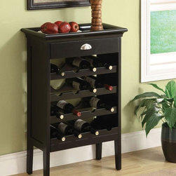 ACME Furniture - Richard Wenge Finish Wine Rack w/Brown Faux Marble Top - 97012 - Nelson Collection Wine Bar