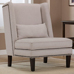 None - Wing Chair Natural Linen - Add a touch of contemporary class to any room with this beautifully designed linen wing chair. Embellished with stylish nailhead trim along the seat and back,and featuring sturdy solid wood legs,this comfortable chair is wonderfully inviting.
