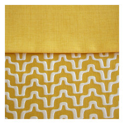 Grey House Linens - The Lisa Collection Tablecloth, Small - Go bold with a graphic border motif of vibrant yellow and white, which segues to a durable citrus yellow solid, vivid and bright. This sassy palette provides a splash of sunshine to any home.
