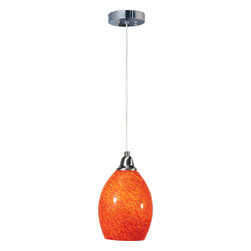 ET2 Lighting - Assisi Pendant - This pendant lamp points light in the right direction. The glass shade is hand-blown with impressed veins that accent the surface for one-of-a-kind character. Line a few up over your home bar, center island or breakfast bar for shot of vibrant color that's revealed when the light is turned on.