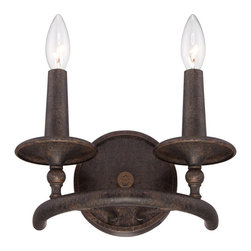 Quoizel - Quoizel Dark Bronze Sconces - SKU: VYR8702ML - The Voyager collection has an elegant look that is influenced by Moorish, Spanish and Gothic styles. The intricate metal scrollwork is made of hand-forged iron, and the stunning Malaga finish completes the design of this stately collection.