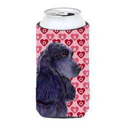 Caroline's Treasures - Black Cocker Spaniel Hearts Love Valentine's Day Tall Boy Koozie Hugger - Black Cocker Spaniel Hearts Love Valentine's Day Tall Boy Koozie Hugger Fits 22 oz. to 24 oz. cans or pint bottles. Great collapsible koozie for Energy Drinks or large Iced Tea beverages. Great to keep track of your beverage and add a bit of flair to a gathering. Match with one of the insulated coolers or coasters for a nice gift pack. Wash the hugger in your dishwasher or clothes washer. Design will not come off.