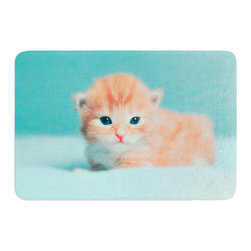 "KESS InHouse - Monika Strigel ""Dreamcat"" Orange Blue Memory Foam Bath Mat (17"" x 24"") - These super absorbent bath mats will add comfort and style to your bathroom. These memory foam mats will feel like you are in a spa every time you step out of the shower. Available in two sizes, 17"" x 24"" and 24"" x 36"", with a .5"" thickness and non skid backing, these will fit every style of bathroom. Add comfort like never before in front of your vanity, sink, bathtub, shower or even laundry room. Machine wash cold, gentle cycle, tumble dry low or lay flat to dry. Printed on single side."