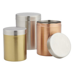 3-Piece Mixed Metal Canister Set - I love all the bronzed and gilded accessories making their way into the kitchen. You could even bring these out of the kitchen and straight to the table — so handsome!