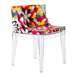 "East End Imports - Flower Design Accent Chair - Clear the mind and transcend normative thought with a piece that binds together cohesive imagery. From the enhancing power of a beautiful bouquet to the transparent fluid base, Flower Design is a chair that strives to establish points of connection. Marvel and reflect at how the flow of life is depicted in this enamored piece.  Overall Product Dimensions: 19""L x 20.5""W x 29.5""H"