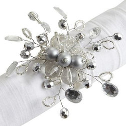 Beaded Napkin Ring, Silver - These are the perfect napkin rings to complement some silver chargers.