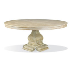 "Hickory White - Hickory White Baluster Base and 72""Dia Solid Ash Top Dining Table 550-05_552-19 - Hickory White Baluster Base and 72""Dia Solid Ash Top Dining Table 550-05_552-19."