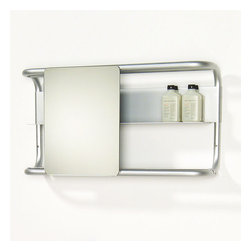 Whitehaus Collection Aeri Shelves Square Sliding Bathroom Mirror, Alumi - This cool little mirror caught my eye - looks like it could be on a space ship or modern futuristic dorm room. Very practical and stylish!
