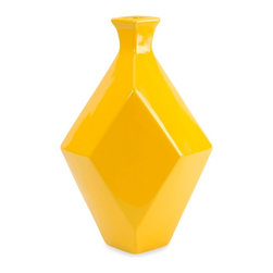 Chantal Yellow Ceramic Vase - *The Chantal medium yellow vase incorporates a geometric shape and canary shade that adds a contemporary boldness to any room!