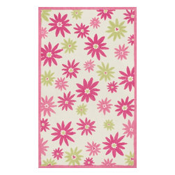 Loloi Rugs - Loloi Rugs Piper Collection - Pink / Green, 5' x 7' - Transform the floor into a vibrant play area for your child with the cheerful Piper Collection. Distinguished by its incredibly soft microfiber polyester surface and playful geometric and linear designs, the machine woven Piper Collection instantly l