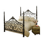 Hillsdale Furniture - Hillsdale Parkwood Poster Bed - Queen - Hillsdale Furniture's Parkwood bed is the definition of traditional elegance. A classic four poster design, this bed features graceful arched lines, intricate castings, sculpted finials and flowing scrollwork. Constructed from heavy gauge fully welded tubular steel, the Parkwood bed boasts a dynamic black gold finish.