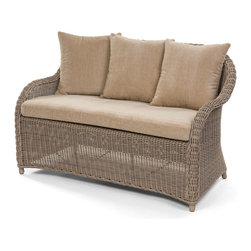Caluco - Amilie Love Seat - The Amelie collection offers the romantic look and classic elegant design of traditional wicker furniture sets, updated with the durability of Caluco�۪s own all-weather, UV resistant resin fibers. All our wicker furniture can stand any outdoor situation. The all welded aluminum powder coated frames are generously proportioned to accommodate the plush, all-weather cushions.