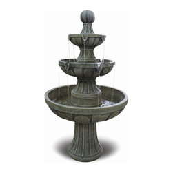 Bond Manufacturing - 45 in. Fiberglass Fountain - Napa Valley - Made of Fiberglass. UL tested water pump. 1 year warranty. 25 in. L x 25 in. W x 45 in. H (42.5 lbs.)With three tiers, clean lines, and a stone-like finish, the Napa Valley has a classic, elegant look. Multiple streams of water flow from one tier to the next, creating a calm, ambient sound. 25 in. L x 25 in. W x 45 in. H (38 lbs.)