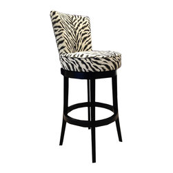 "Armen Living - Boston Swivel Barstool In Black Zebra Fabric 26"" Seat Height - Spice up your life with the exotic look of the Boston Swivel Barstool in black zebra fabric. Features copper nail accents add incomparable value to sophisticated style.  Black wood base."