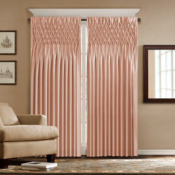 """Madison Park - Madison Park Caitlyn Window Curtain - Give any room an updated look with the Madison Park Caitlyn window panel. This faux silk panel features pintucking details that create a diamond lattice pattern on the top. This energy saving panel is lined and feature interlining with fleece material to retain the heat or keep cool air from escaping your room. The panel also has a 3"""" rod pocket detail. The panel comes in 84"""" and 95"""" lengths and in the colors of white, cream, tan, brown, blue and pink. Face: 100% polyester, Interliner: 100% polyester fleece; Lining: 80% polyester, 20%cotton; Interlined, 3""""rod pocket"""