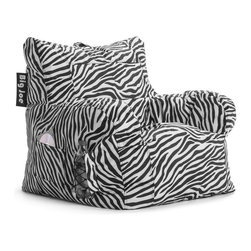 Comfort Research - Comfort Research Big Joe Dorm Chair - Zebra - The Big Joe Dorm Chair is one more reason why college is the best four years of your life! This chair has it all: a drink holder, pocket and easy-carry handle. Don't wait for college to use it though. Put it in your bedroom or family room today! Made with tough, stain and water-resistant SmartMax Fabric. Filled with UltimaX Beans that conform to you. Double stitched and double zippers. Spot clean.