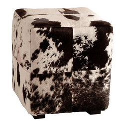 Arteriors Home - Arteriors Home Hugo Patchwork Ottoman - Arteriors Home 2210 - Bring rustic style indoors with this patchwork cow hide upholstered ottoman. Kick up your boots on this black and white square, which would look right at home in either urban or rural-themed homes.