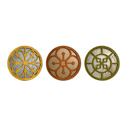 Imax Corp - Valesso Wall Mirrors - Set of 3 - With Spanish influenced frames in yellow, orange and green the set of three Valesso wall mirrors add an authentic feel to any hacienda.