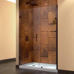 "DreamLine - DreamLine SHDR-20477210CS-06 Unidoor Shower Door - DreamLine Unidoor 47 to 48"" Frameless Hinged Shower Door, Clear 3/8"" Glass Door, Oil Rubbed Bronze Finish"