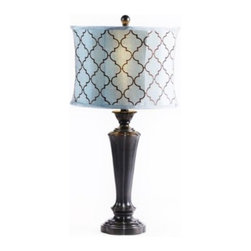 Quatrefoil Table Lamp - Quartrefoil design is showing up in the most delightful places these days.   Add this wonderful pattern into your decor with a lovely table lamp sporting a shade with a beautiful quatrefoil pattern.  The espresso finish on the base of this lamp ensures it will work well in any decor.