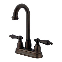 Kingston Brass - Two Handle 4in. Centerset Bar Faucet - This two-handle 4in. centerset faucet fits as an ideal accessory for your bar setting bringing yesterday's classical elegance with today's functionality. The faucet features a 1/4-turn on-and-off water control mechanism and includes a Duraseal washerless valve providing smooth operation with the flow of water. Fabricated in high-quality brass, the sleek design will give your bar that outstanding look and will give you long-lasting usage free from corrosion and tarnishing.