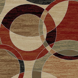 Ottomanson - Green Contemporary Circles Design Area Rug - Manhattan Collection offers a wide variety of machine made modern design area rugs with high, durable, stain-resistant pile in trendy colors.